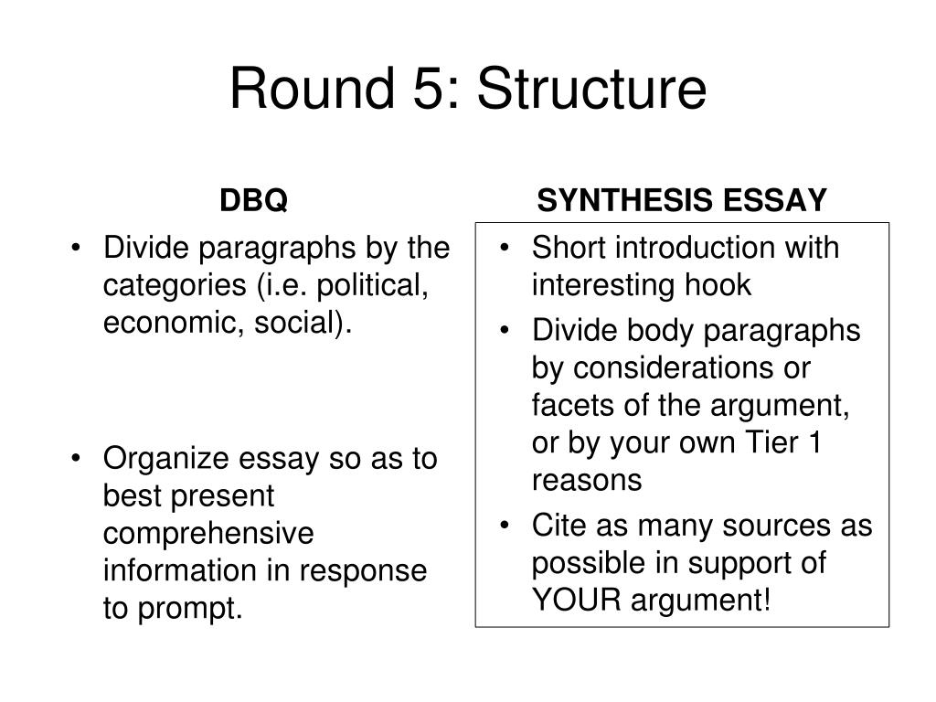 ppt apush dbq vs ap language synthesis essay powerpoint round 5 structure