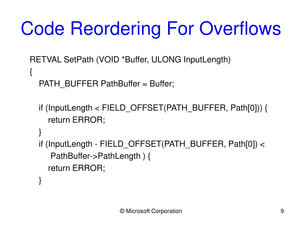 Code Reordering For Overflows