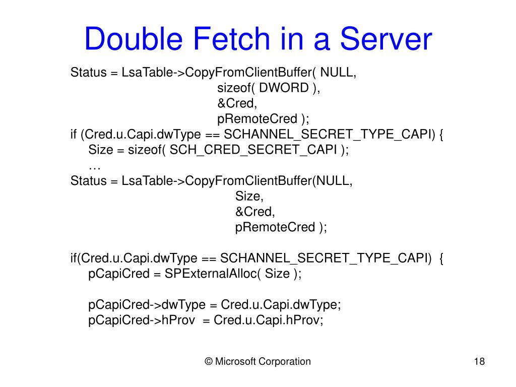 Double Fetch in a Server