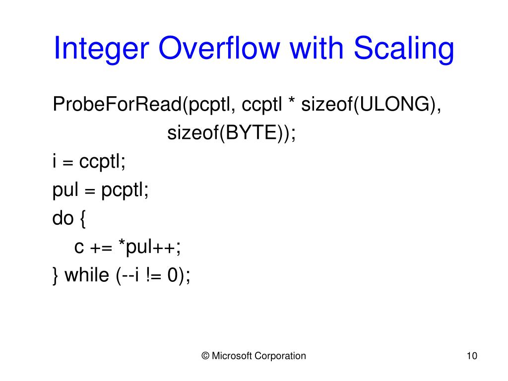Integer Overflow with Scaling
