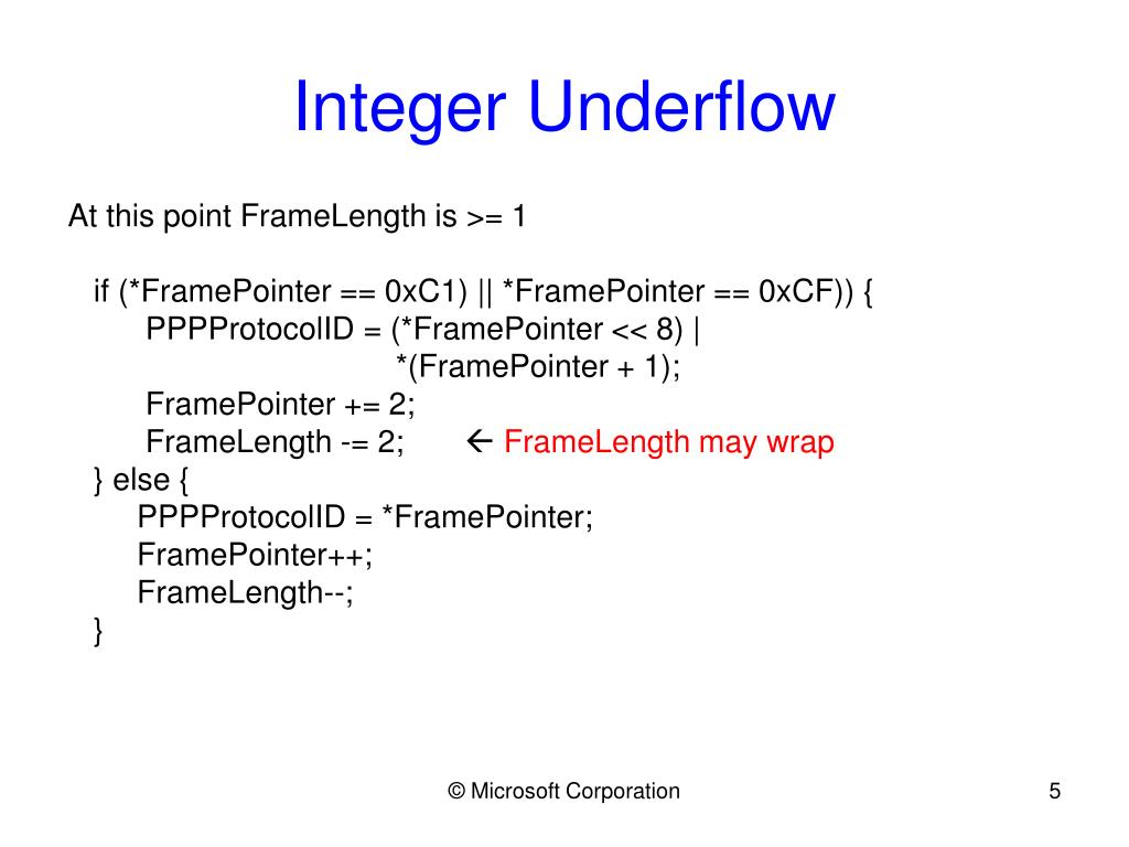 Integer Underflow