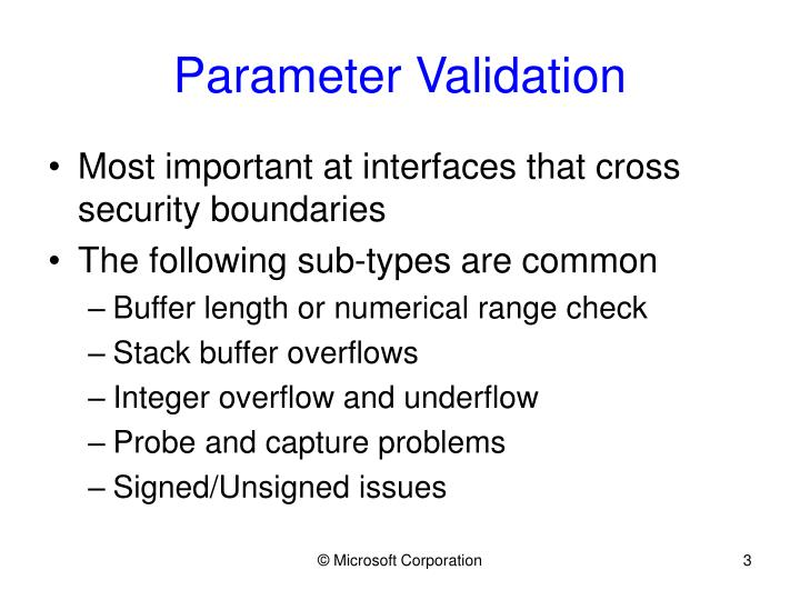 Parameter validation