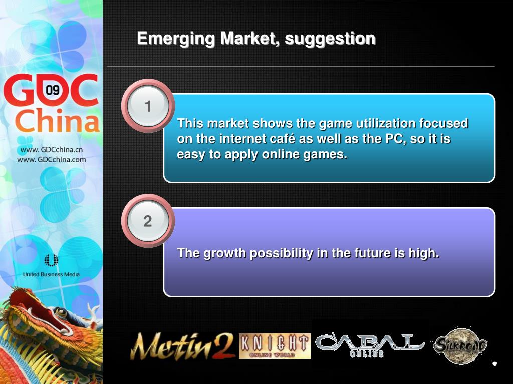 This market shows the game utilization focused on the internet café as well as the PC, so it is easy to apply online games.