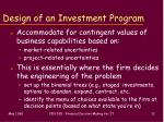 design of an investment program