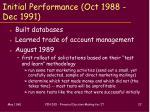 initial performance oct 1988 dec 1991