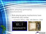 role playing gameplay mechanisms