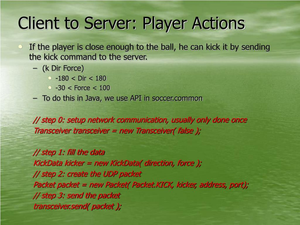 Client to Server: Player Actions