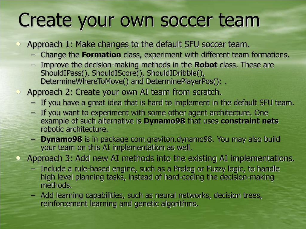 Create your own soccer team