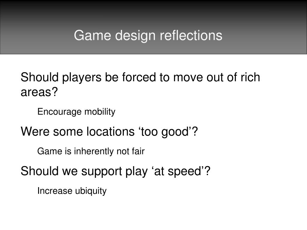 Game design reflections
