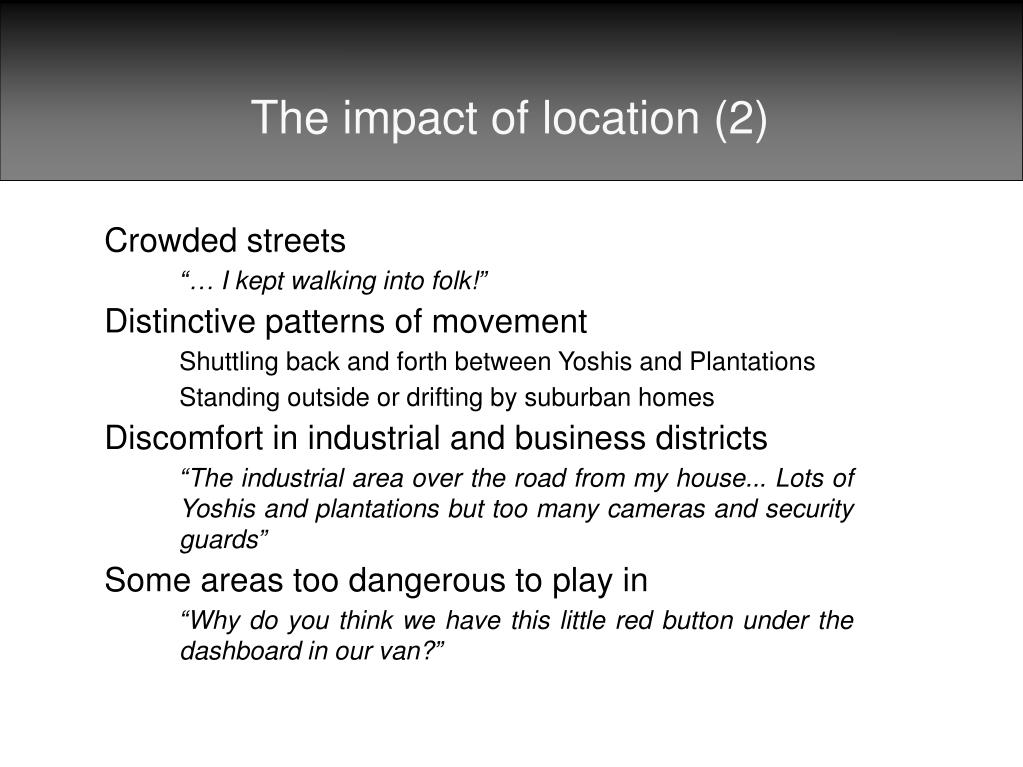 The impact of location (2)