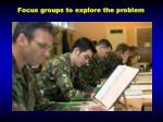 focus groups to explore the problem