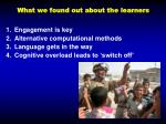 what we found out about the learners