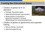 creating new educational games
