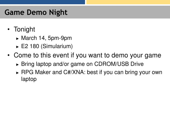 Game demo night