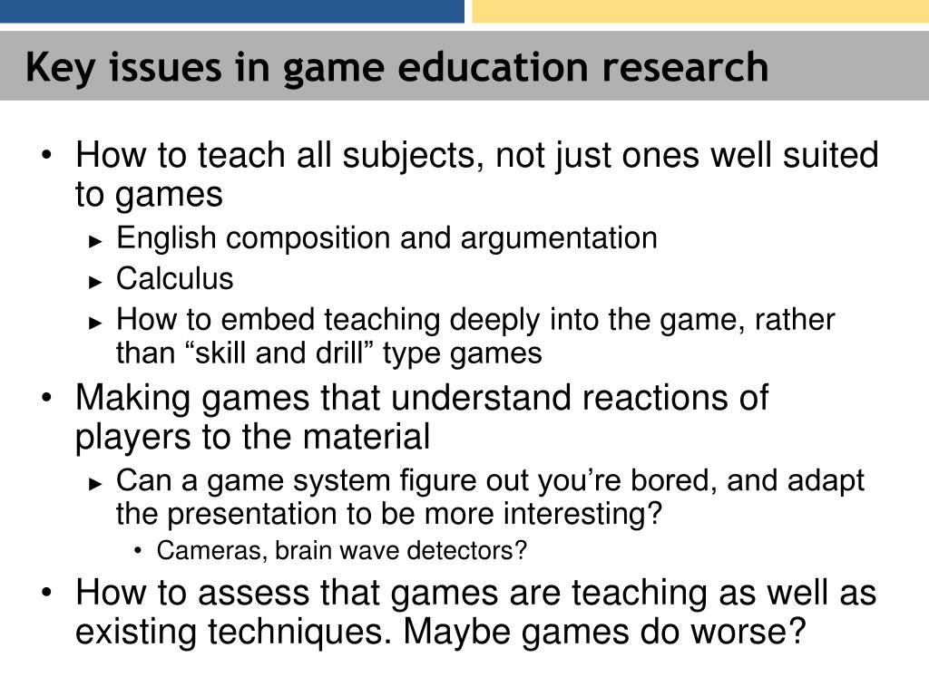 Key issues in game education research