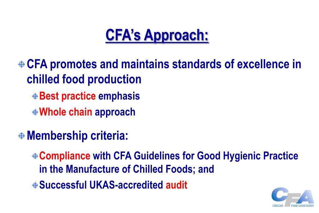 CFA's Approach: