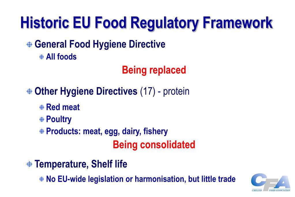Historic EU Food Regulatory Framework