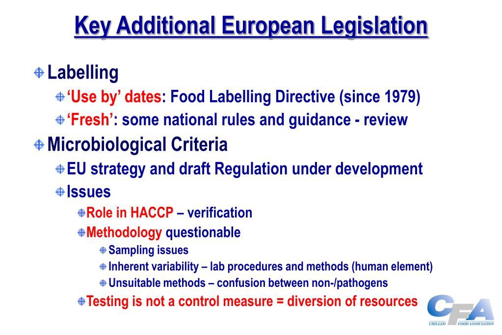 Key Additional European Legislation