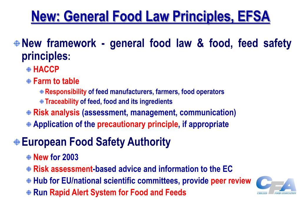 New: General Food Law Principles, EFSA