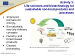 activity 3 life sciences and biotechnology for sustainable non food products and processes