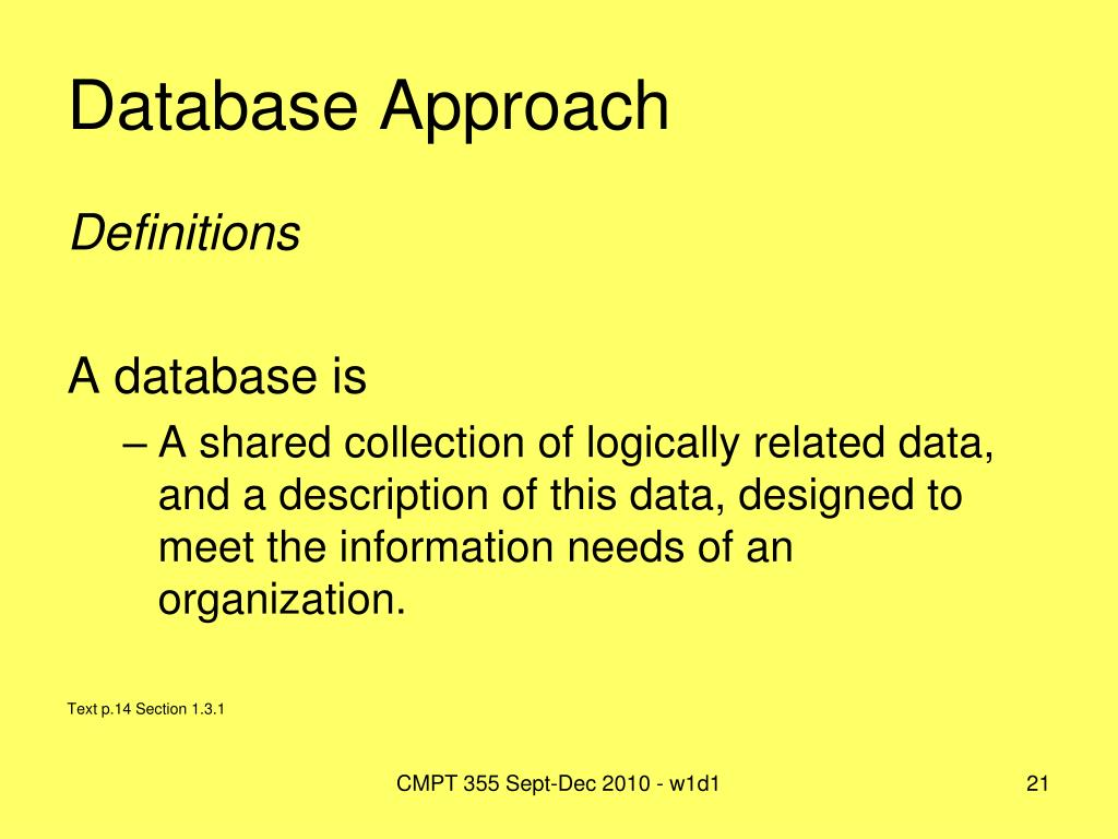 Database Approach