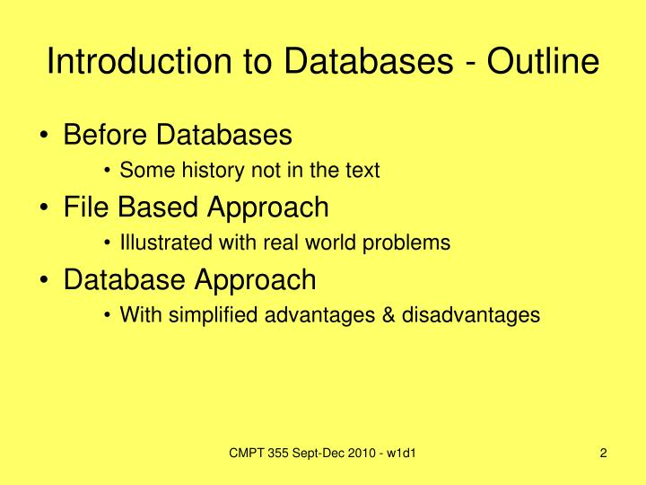 Introduction to databases outline