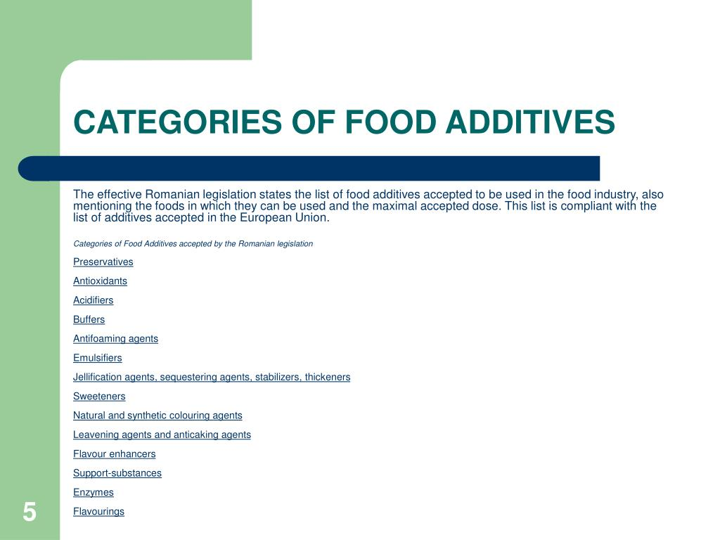 CATEGORIES OF FOOD ADDITIVES