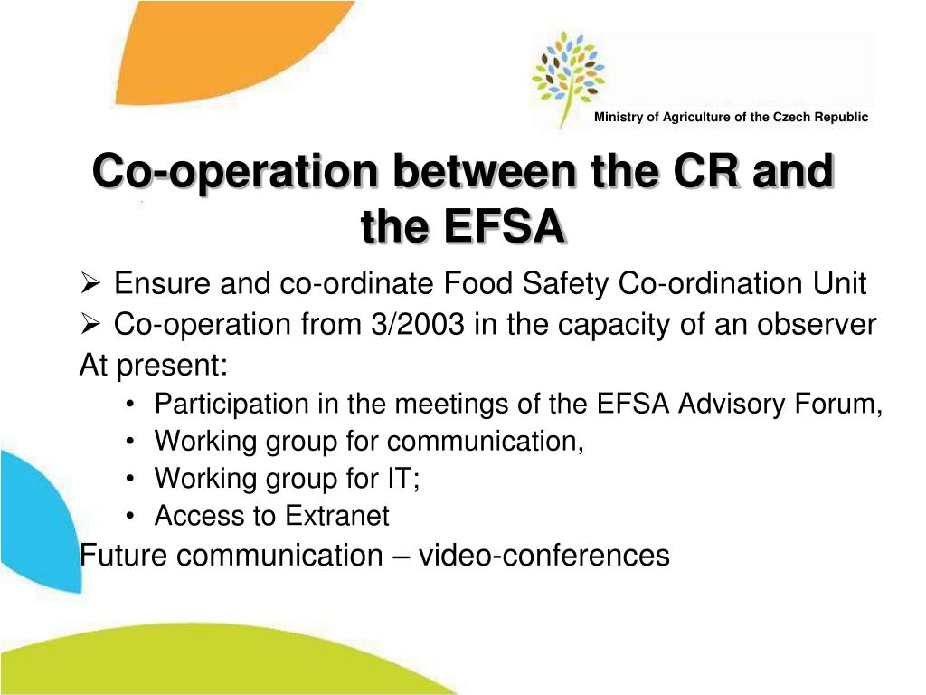 Co-operation between the CR and the EFSA