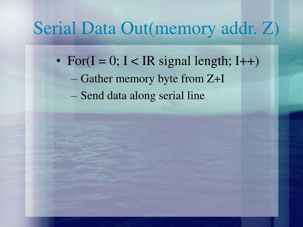 Serial Data Out(memory addr. Z)