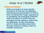 article 16 of 178 2002