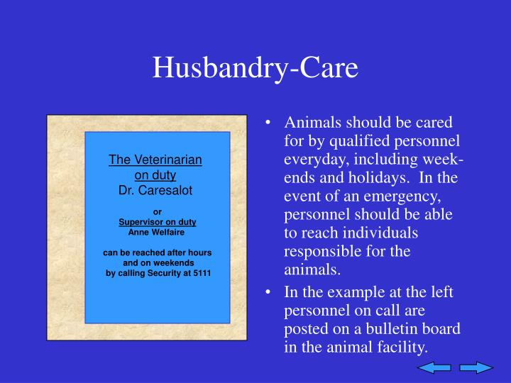 Husbandry-Care