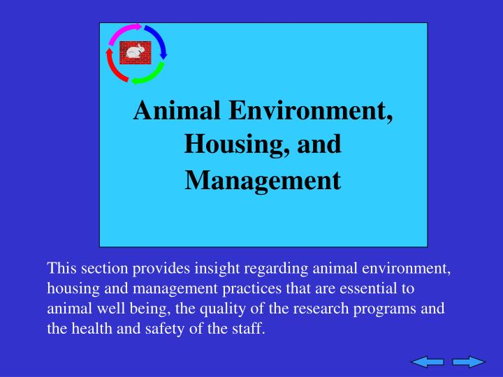 Animal Environment, Housing, and Management