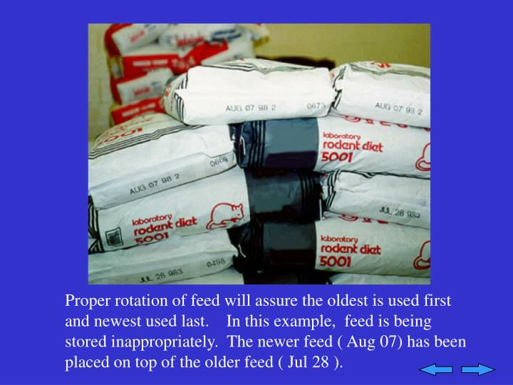 Proper rotation of feed will assure the oldest is used first and newest used last.    In this example,  feed is being stored inappropriately.  The newer feed ( Aug 07) has been placed on top of the older feed ( Jul 28 ).