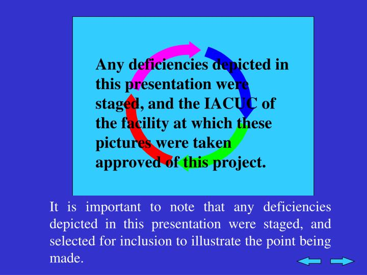 Any deficiencies depicted in this presentation were staged, and the IACUC of the facility at which these pictures were taken approved of this project.