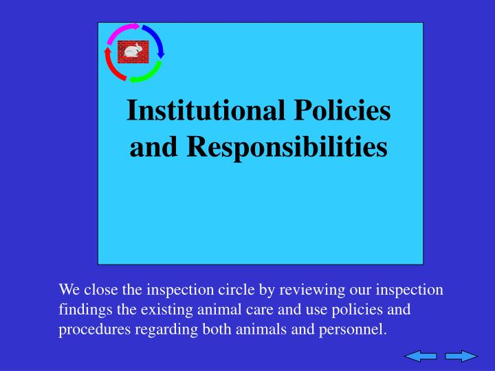 Institutional Policies and Responsibilities