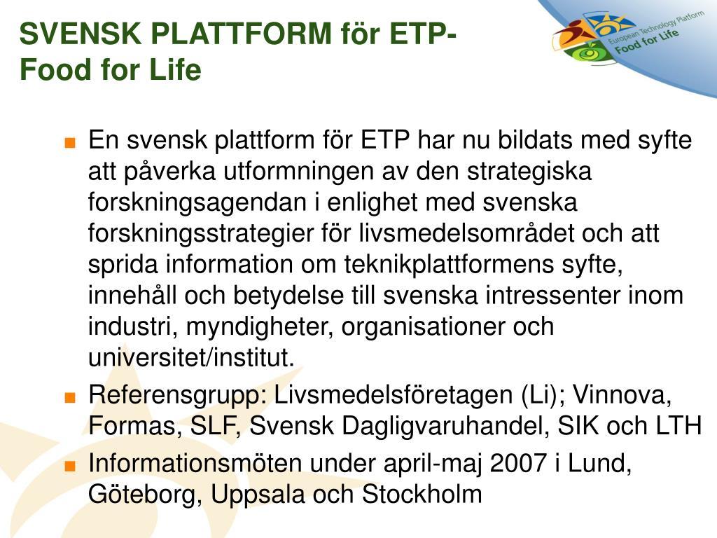 SVENSK PLATTFORM för ETP- Food for Life