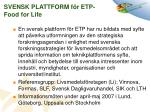 svensk plattform f r etp food for life