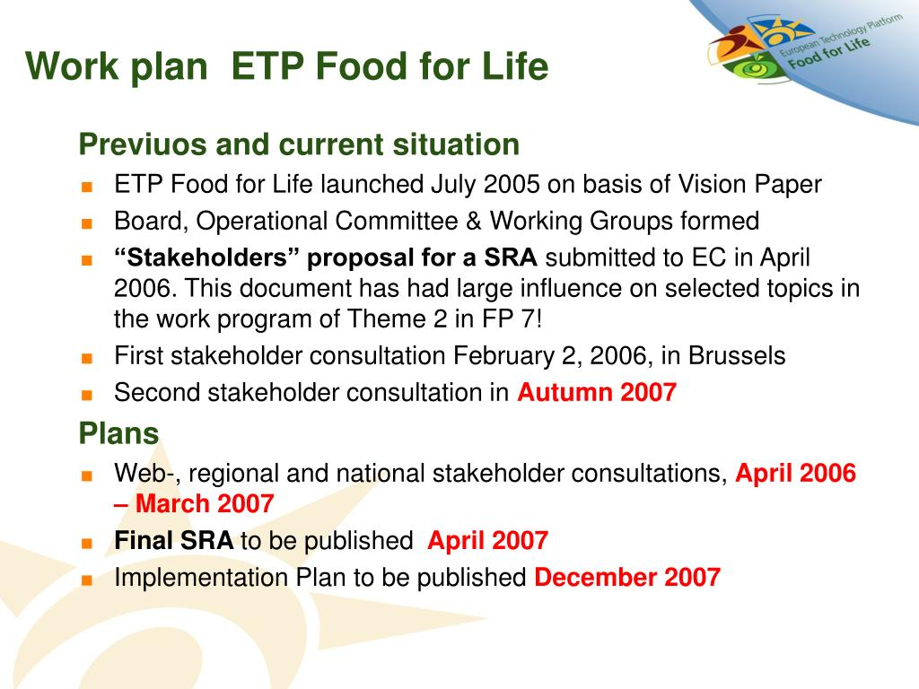 Work plan  ETP Food for Life