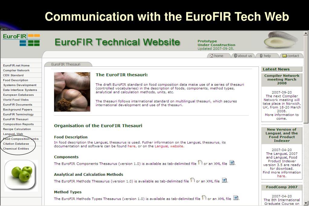 Communication with the EuroFIR Tech Web