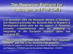 the romanian paltform for hydrogen and fuel cells
