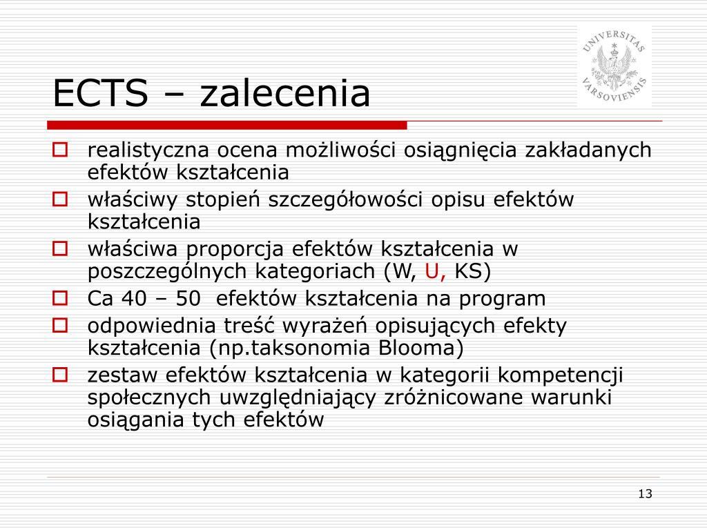 ECTS – zalecenia