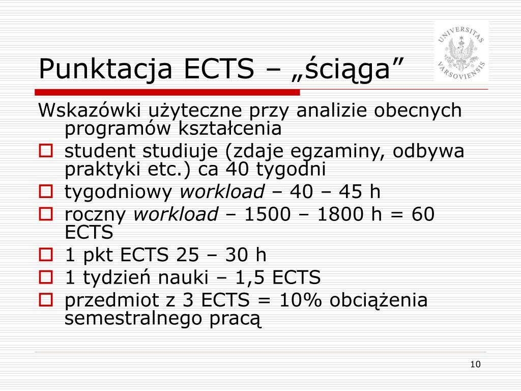 """Punktacja ECTS – """"ściąga"""""""