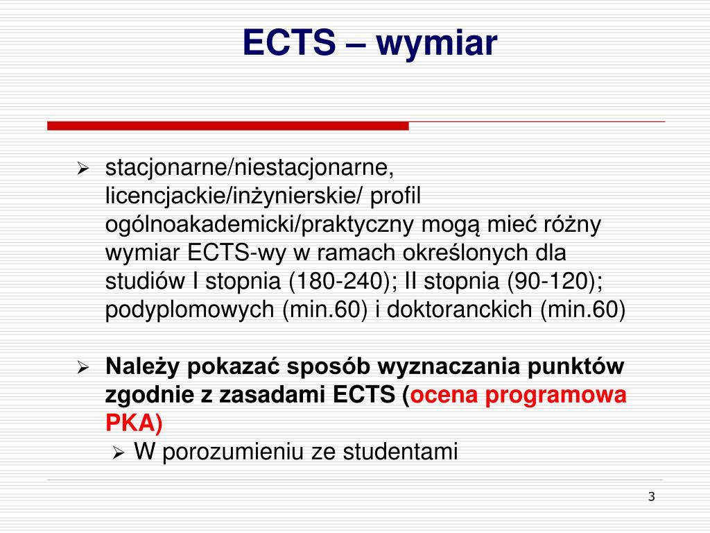 ECTS – wymiar