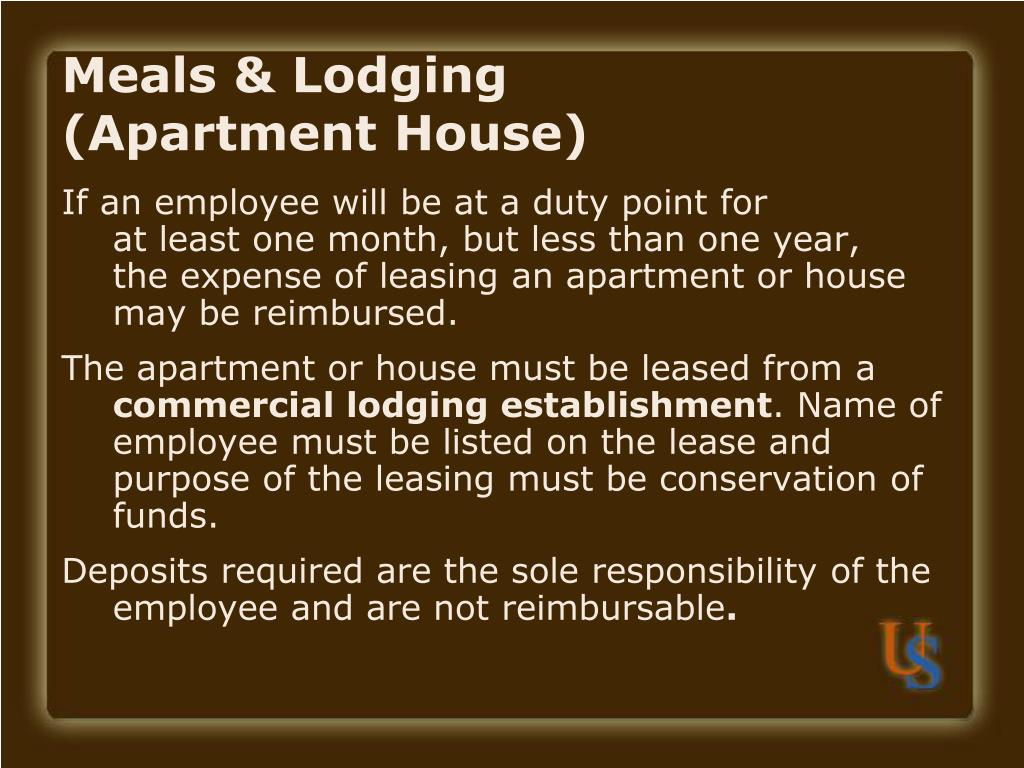 Meals & Lodging         (Apartment House)