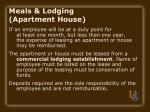 meals lodging apartment house