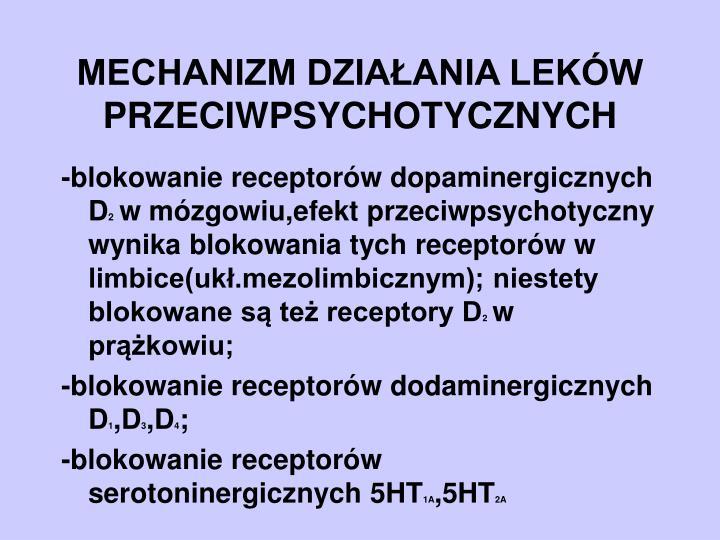 Mechanizm dzia ania lek w przeciwpsychotycznych