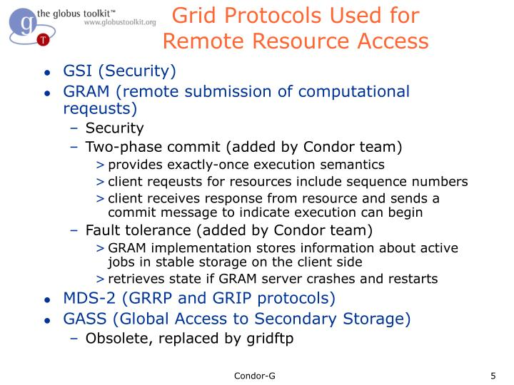 Grid Protocols Used for