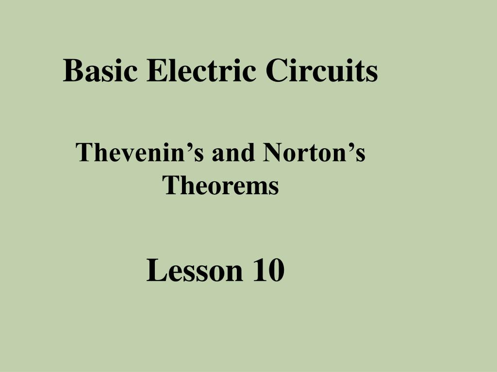 Ppt Basic Electric Circuits Powerpoint Presentation Id631813 Thevenin Example Slide1 L