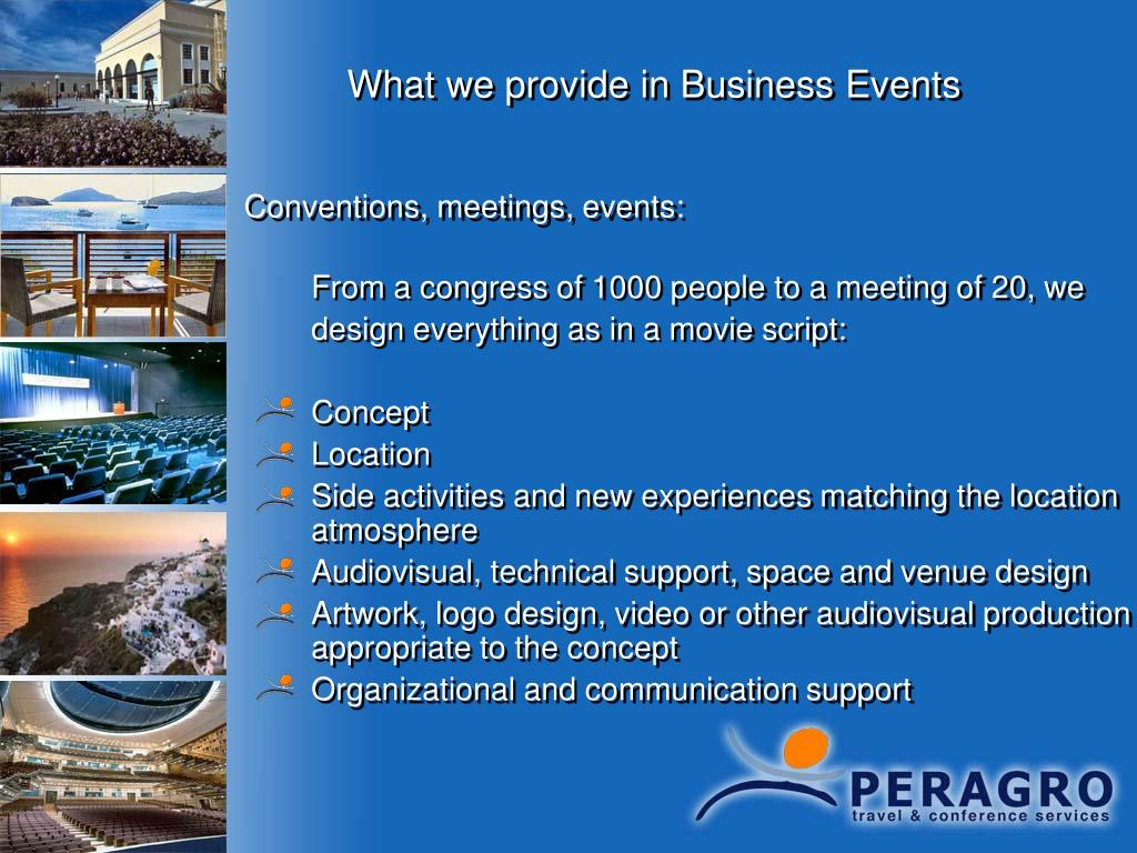 What we provide in Business Events