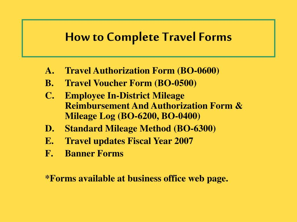 how to complete travel forms l.